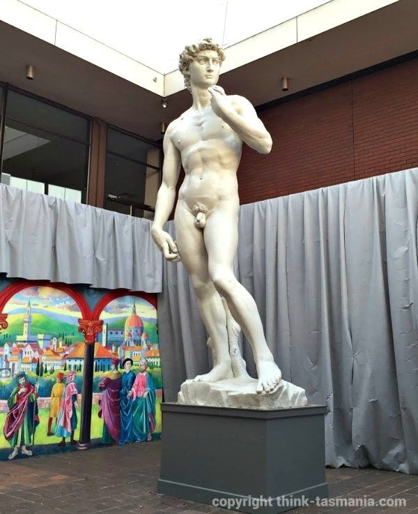 Burnie Regional Art Gallery, Statue of David from the Michelangelo Exhibition ~ article and photo for think-tasmania.com ~ #Burnie #Tasmania #Michelangelo #arts #exhibition #statue #sculpture #painting