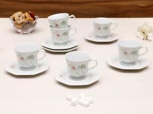 Conjunto de 6 Xícaras de Chá com Pires 6 Peças - Schmidt Classic Encanto