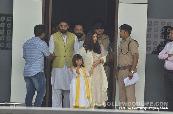 Abhishek Bachchan and Aishwarya Rai Bachchan return from Allahabad after immersing her father's ashes – view HQ pics #FansnStars