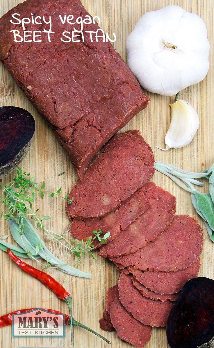 Easy to make, spicy BEET seitan. Video tutorial: youtu.be/J4L6dXw1Nl0 |  Printable recipe: www.marystestkitc...