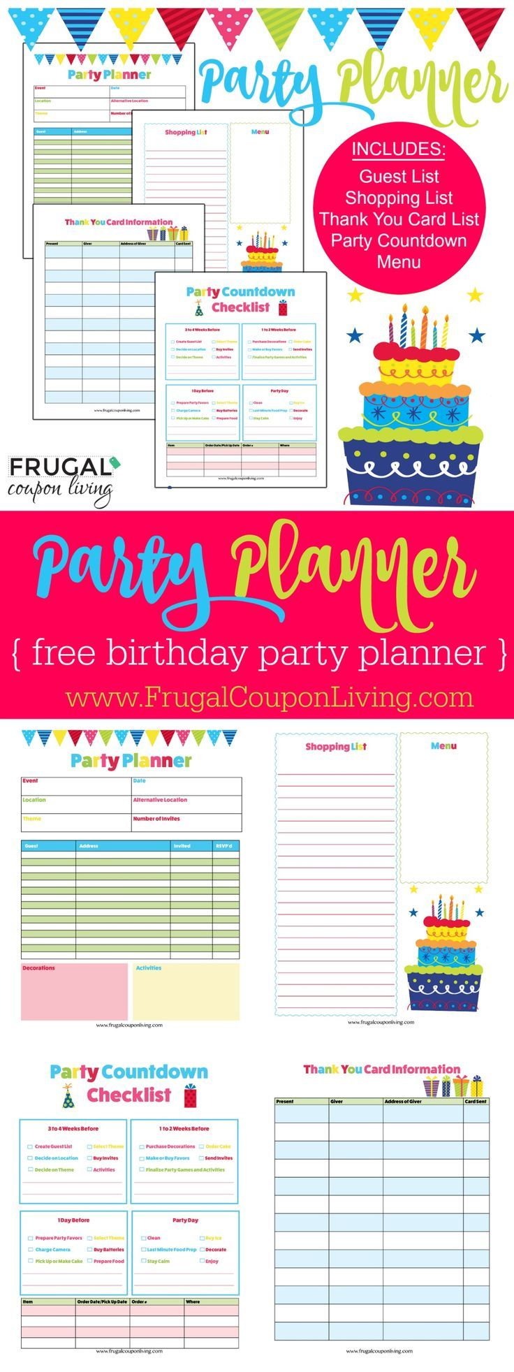 FREE Birthday Party Planner on Frugal Coupon Living - great for kids or adults. Kit includes a guest list, shopping list, thank you card list, party countdown and menu. Birthday Party Resource. Birthday Party Ideas.