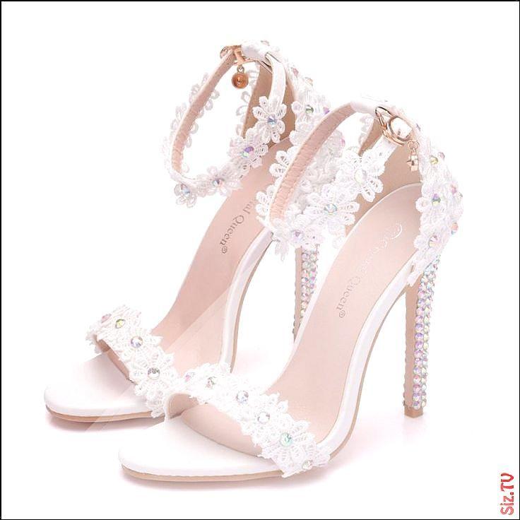 Modern Fashion White Wedding Shoes 2018 Lace Flower Rhinestone Ankle Strap 11 Cm Stiletto Heels Open Peep Wedding High Heels White Wedding Shoes Bride Shoes