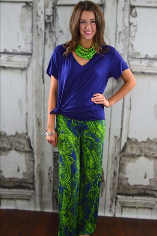 Under the Sea Palazzos – The ZigZag Stripe - FREE shipping with code ZZS9 #blue #green
