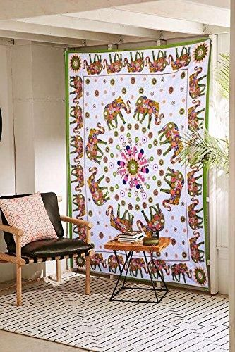 Bohemian Circle of Elephants Fabric Tapestry