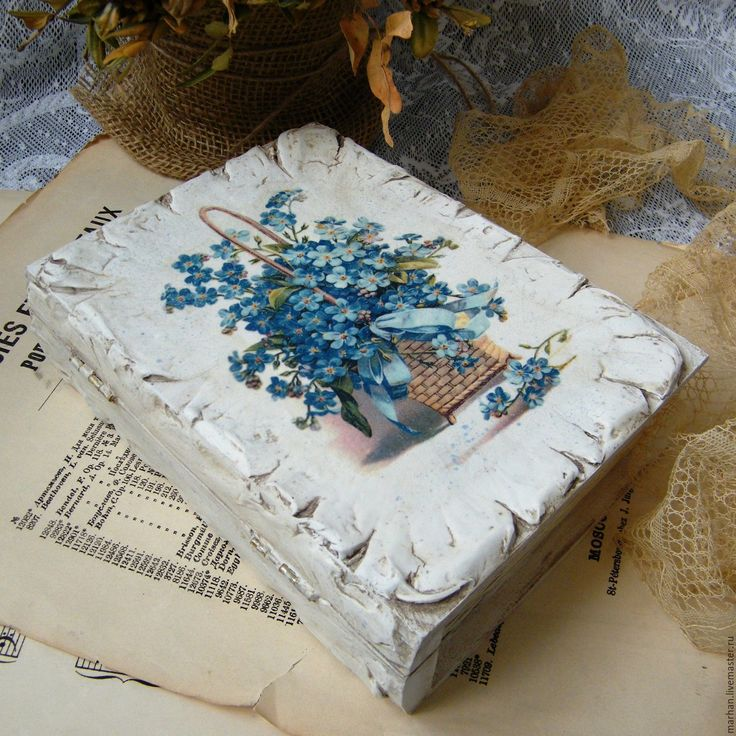 Купить Свадебная шкатулка книга Незабудки. Декупаж - белый, голубой, шкатулка-книга, шкатулка книга