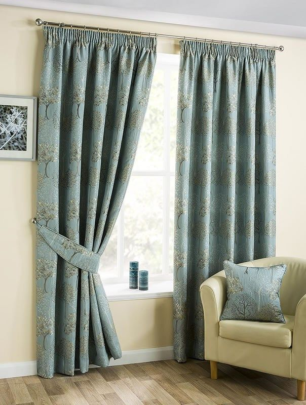 Arden Pencil Pleat Curtains featuring a symmetrical Tree Design on a Neutral Background Available in Duckegg or Natural from £32.99