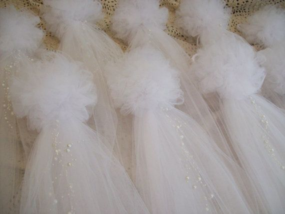 White Tulle and Pearl Bows Church Pew White Pew Bows by OneFunDay