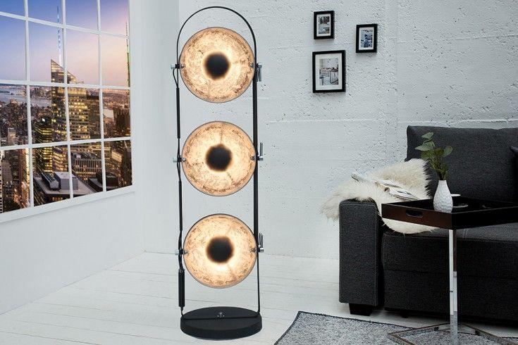 Elegante Stehlampe STUDIO 130cm schwarz Blattsilber Optik 3