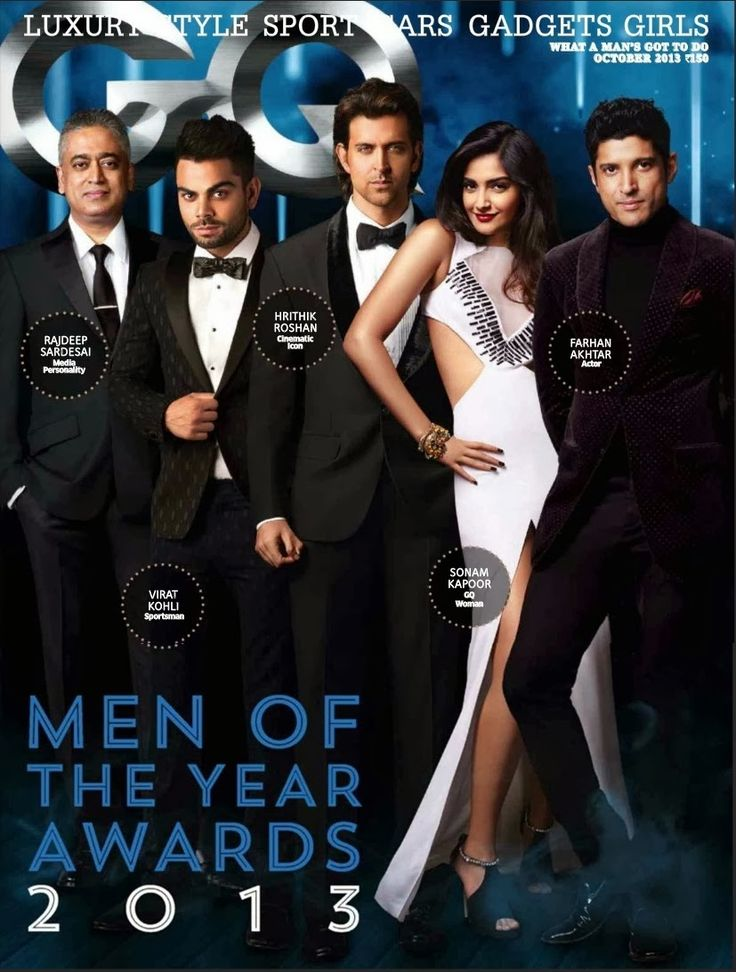 Sonam Kapoor | Hrithik Roshn | Farhan Akhtar | Virat Kohli on The Cover of GQ Magazine - October 2013.