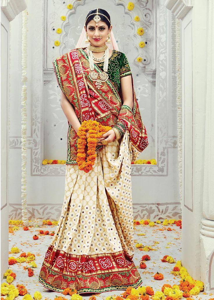 #WeddingSaree White-Red Pure Banarsi Silk Half-Half Bridal Saree with Mirror-Zari Work. Buy Now :- https://goo.gl/K6cKLX