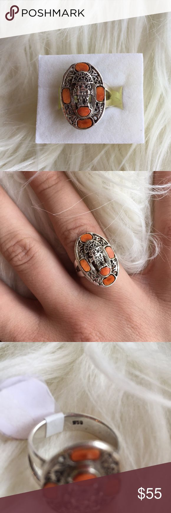 Aztec Ring Super cool Aztec ring with orange stones. Band marked 950. Item 3624-176 IS. Jewelry Rings