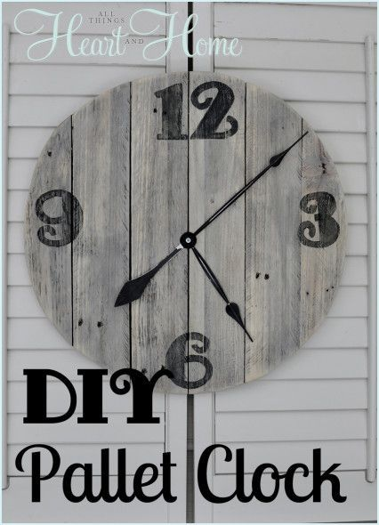 DIY Pallet Clock  --  I like how she includes so many photos. This should be *fairly* easy. ;-) ... Oh, and the photos of her back porch where this is mounted are very inspirational!
