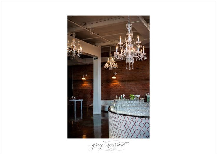 bar and chandeliers