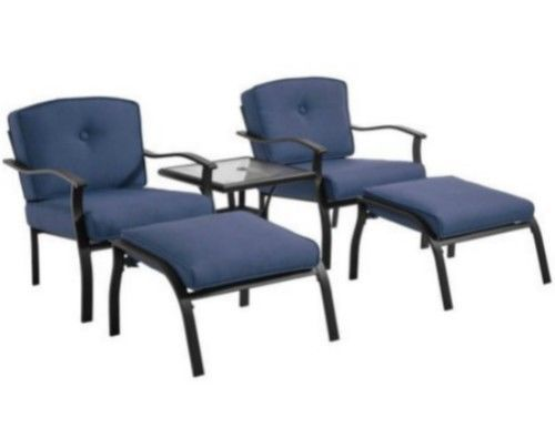 Outdoor Conversation Bistro Set Chair Foot Stool Glass Top Table Patio  Furniture #Mainstays