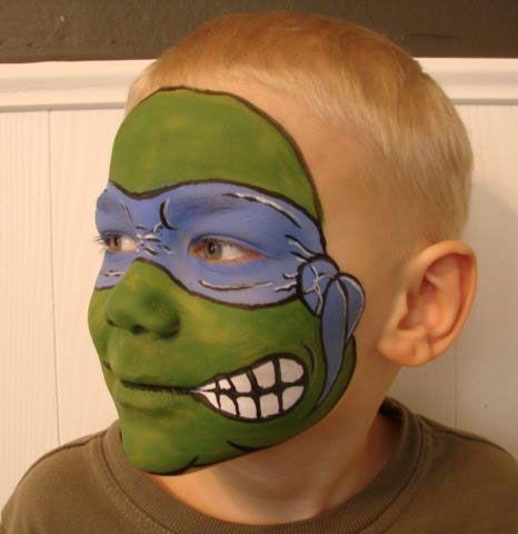 Tortue Ninja, Maquillage Tortue, Idées Maquillage, Fete Tortue, Peinture De Visage De Tortue De Ninja, Facepaint De Bande Dessinée, Costumes Facepaint,