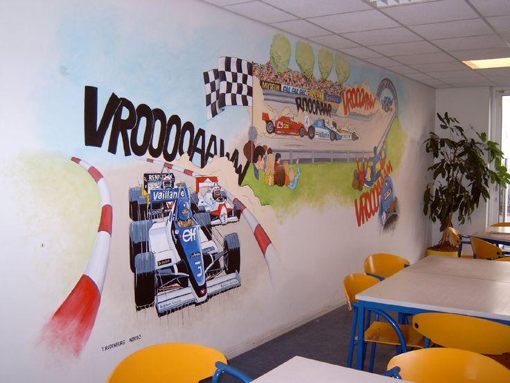 Muurschildering van Race auto's Formule 1 Cars Disney Jongens