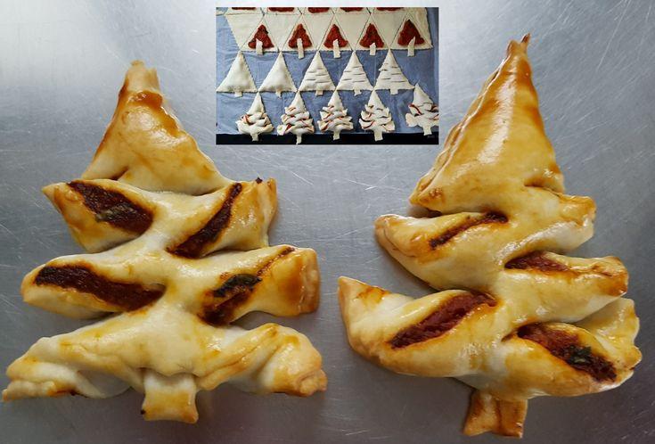 Apero Tannenbäume aus Kuchenteig. Barianten: Spinat/Ricotta, Käse/Speck, Tomatenpüree/Mozarella/Basilikum, Ovo-crunch, Marmelade