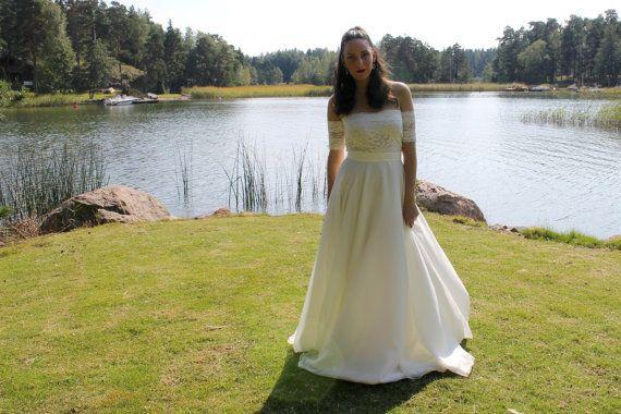 Off the shoulder wedding dress lace wedding by BatelBoutiqueBridal