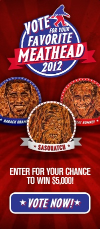 """Jack Links Beef Jerky """"Vote for Your Favorite Meathead 2012"""" campaign. Makes me hungry."""