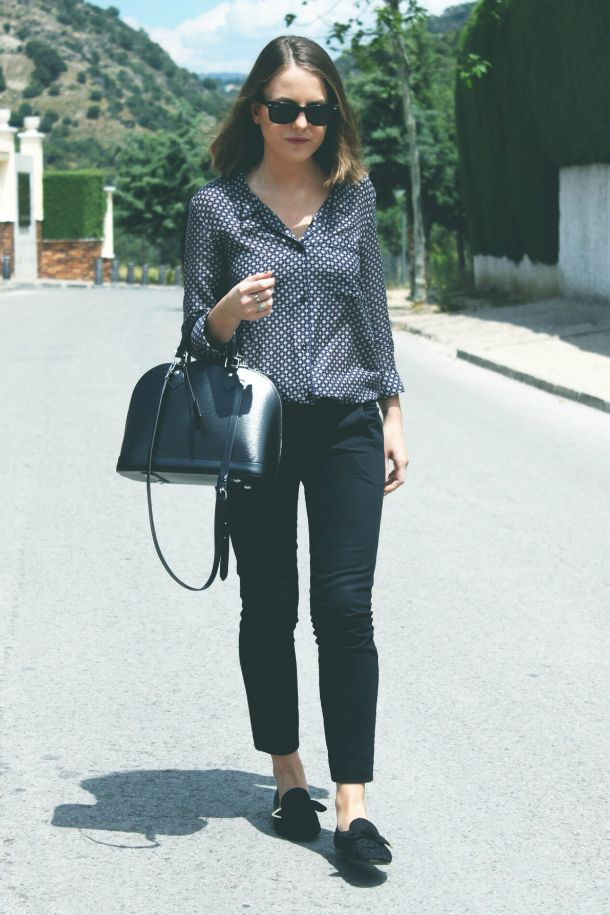 Topshop trousers, The Kooples shirt, LV bag and shoes