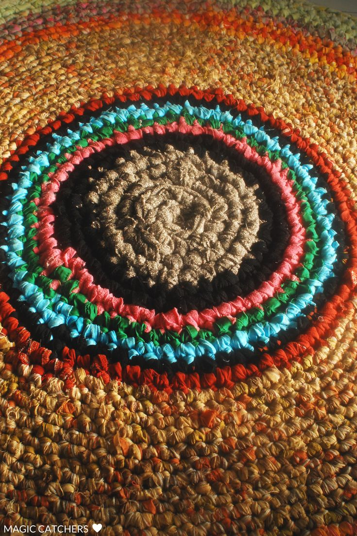 Round ecofriendly crochet rug made from scraps of cloth, t-shirts, all upcycled materials. Great idea for kids room, bedroom, kitchen, home etrance etc.