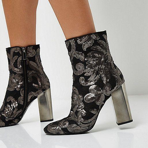 Grijze enkellaarsjes met lovertjes en blokhak - laarzen - schoenen / laarzen - dames