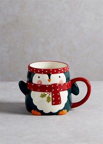 Handpainted Penguin Christmas Mug (9cm x 8cm)