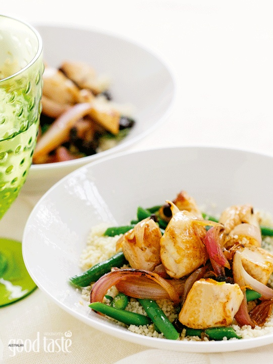 Orange chicken with green bean & mint couscous ~ recipe Chrissy Freer ~ pic Mark O'Meara/NewsLifeMedia