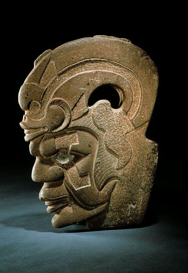 "Anthropomorphic ""hacha"" (axe), Central Veracruz, Middle to Late Classic (500-900 A.D.) - Stone - National Museum of Anthropology, Mexico // Photo © Jorge Pérez de Lara"