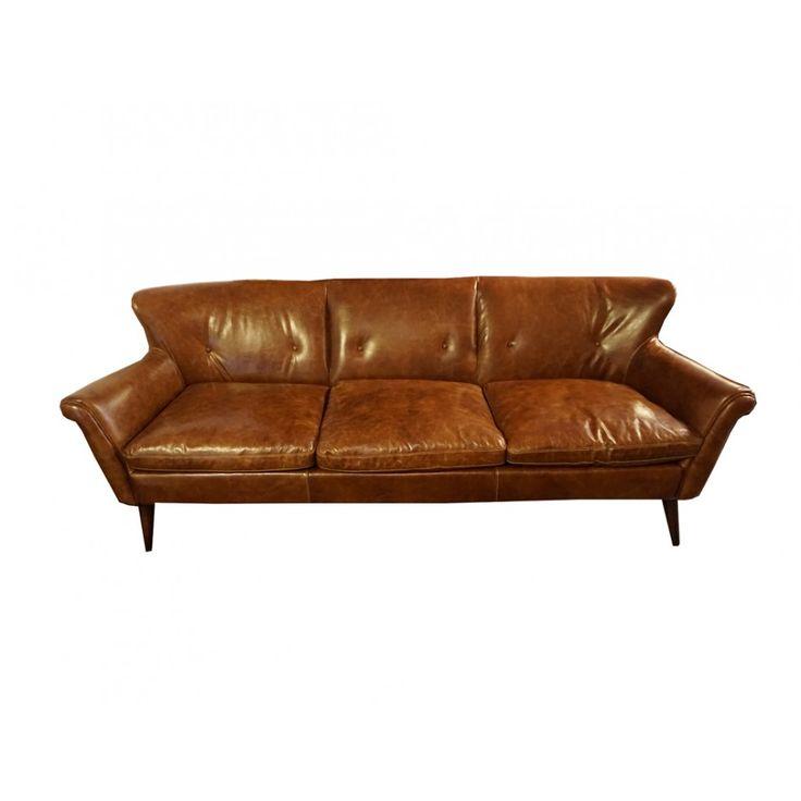 Buckingham 3-sits soffa skinn Cuba brown
