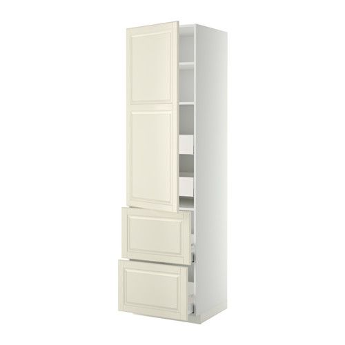 METOD Hi cab w shlvs/4 drawers/dr/2 frnts - white, Bodbyn off-white, 60x60x220 cm, Ma - IKEA