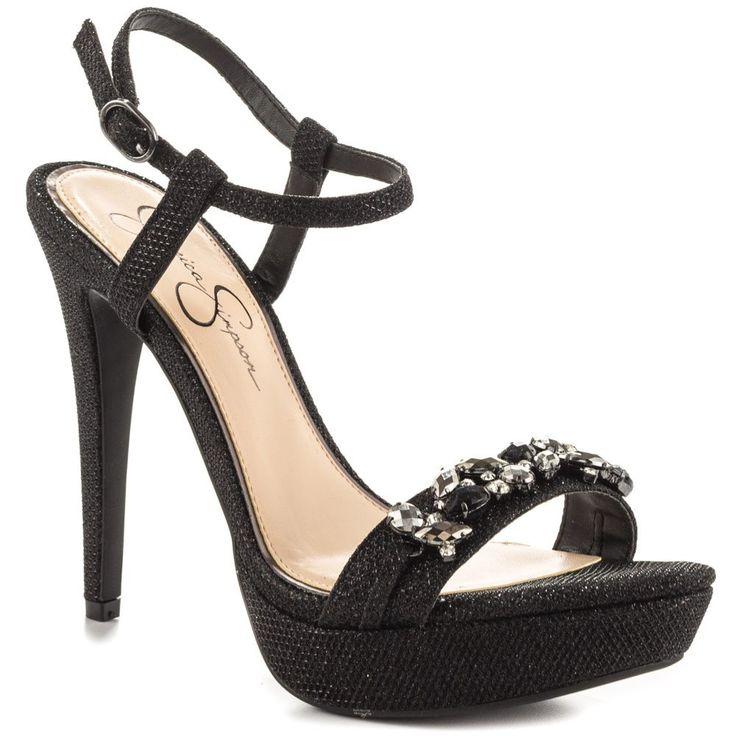 Jessica Simpson Women's Kanady Dress Sandal, Black, 8.5 M US. Acrylic stones and casings ornament.