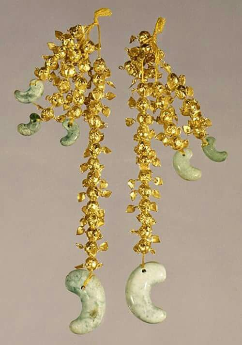 Photo from Korea FB site.    In 1974, a pair of gold pendants, called geumjesusik (금제수식, 金製垂飾), was discovered in the ancient tomb of King Michu (262-284), the 13th monarch of the Silla Kingdom (57 B.C.-A.D. 935), in Hwangnam-dong, Gyeongju. These pendants are seen as the most flamboyant ever discovered in an ancient Silla tomb in Gyeongju. Find out how it looks: http://www.korea.net/Government/Current-Affairs/Korean-Wave/view?affairId=505&subId=569&articleId=138085