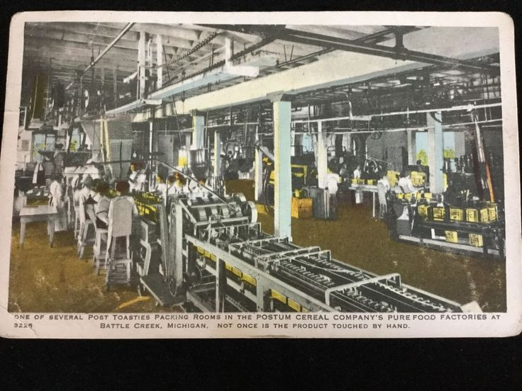 1918 Post Toasties Cereal Packing Room, Postum Cereal, Battle Creek, MI postcard