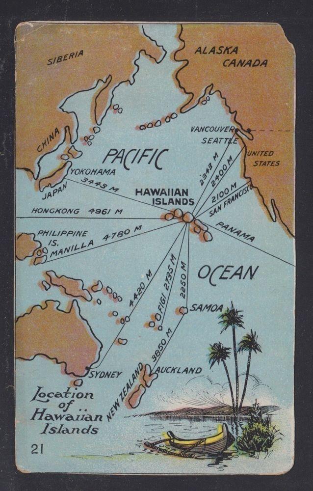 Seattle Map Lake Union%0A UNUSED MAP  u     DISTANCE TO HAWAII POSTCARD