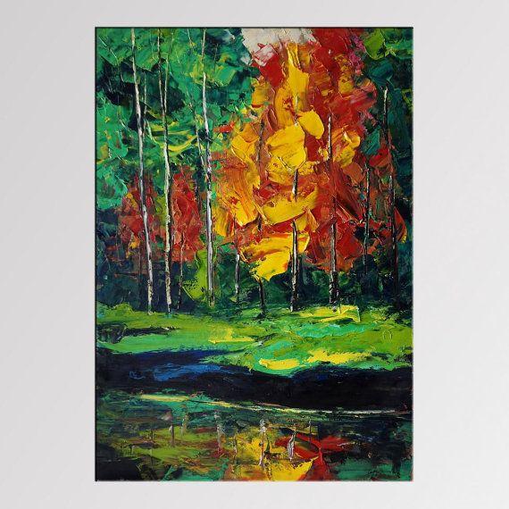 Olio pittura di paesaggio, paesaggio autunnale, arte moderna, grande pittura a olio martellata, arte della parete di tela, pittura a olio originale, spatola