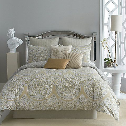 The Taj comforter set by Modern Living is an eclectic mix of detailed patterns in neutral colors inspired by global travel. Transform your bedroom into an exotic escape with this sophisticated comforter set.