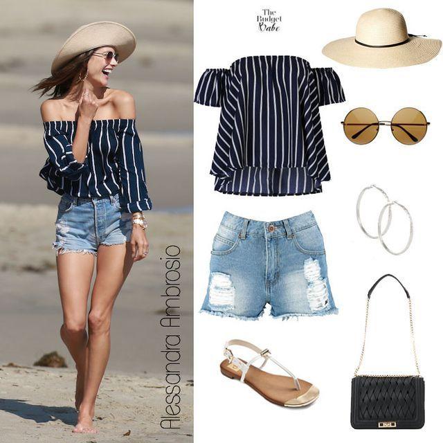 Beach Beauty: Alessandra Ambrosio's Navy Bardot Top and Destroyed Denim Shorts | The Budget Babe | Bloglovin'