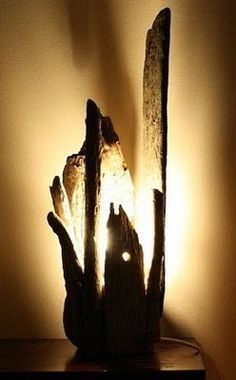 driftwood lamp with seaglass - Google Search