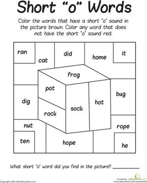 First Grade Phonics Worksheets: Short 'O' Sounds Color Puzzle
