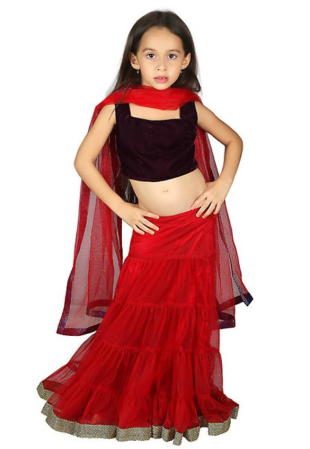 Red Net Readymade Lehenga Choli with Dupatta ??? ...