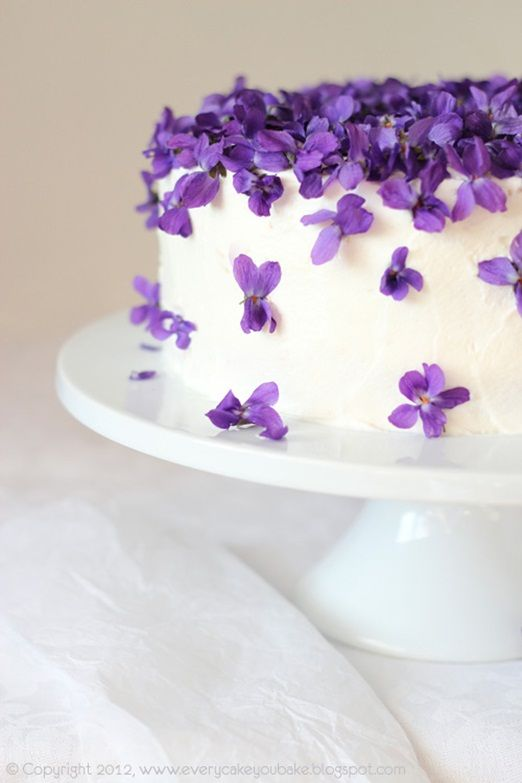 Pretty violet covered wedding cake for a spring wedding