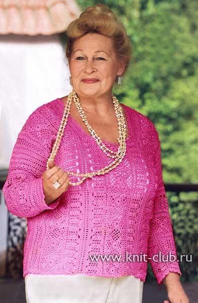Модели вязаных свитеров для полных женщин с описанием