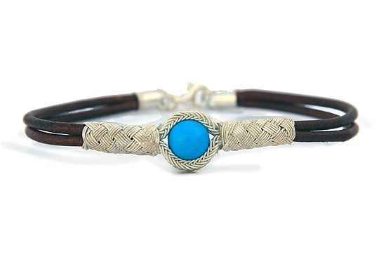 Kazaziye Silver Bracelet with Turquoise - Brown Leather