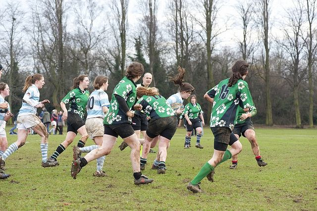 University female rugby team play at Highfields playing field