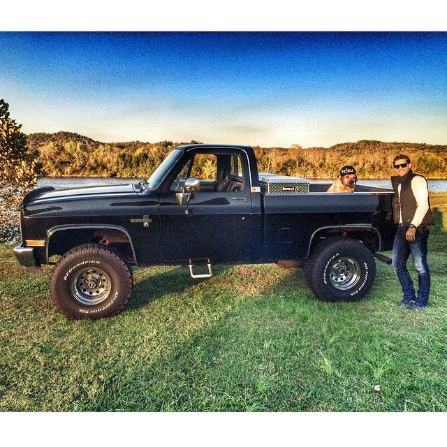 Chase Rice  photo on Instagram, his Chevy & his dog
