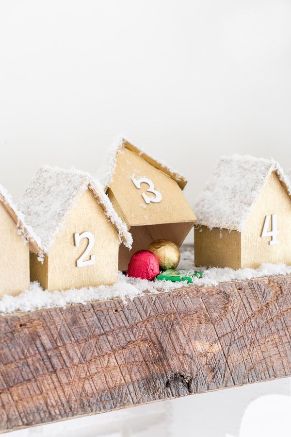 Charming DIY Wooden Houses Advent Calendar with printable house template!