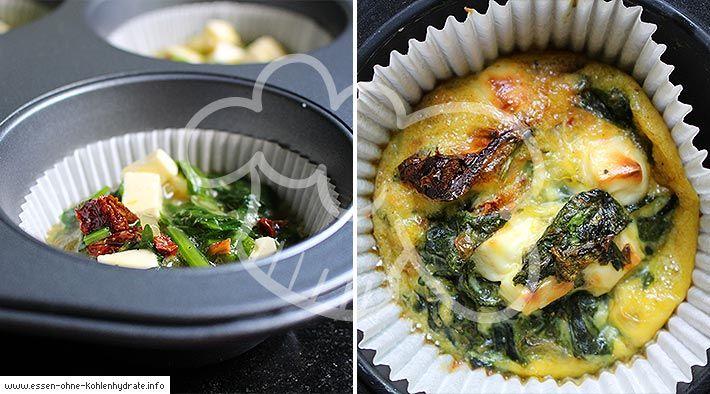 Leckere Spinat-Feta-Frittatas