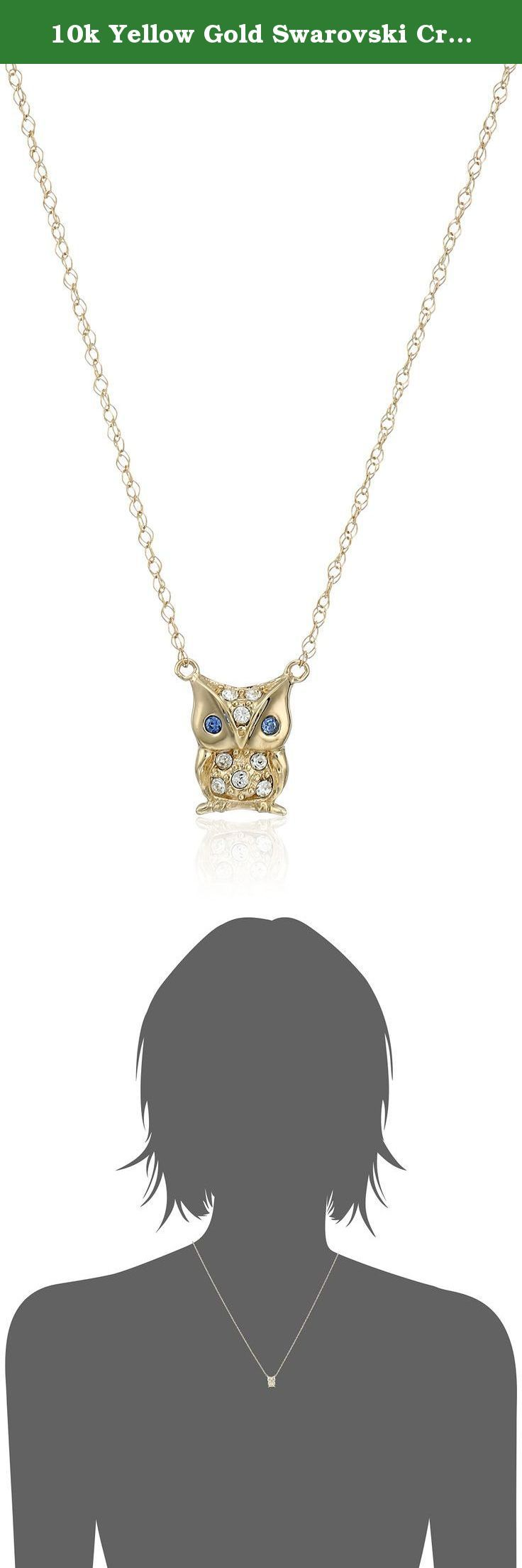 "10k Yellow Gold Swarovski Crystal Owl Necklace, 17"". Hand-polished pure 10k yellow gold; Italian gold chain."