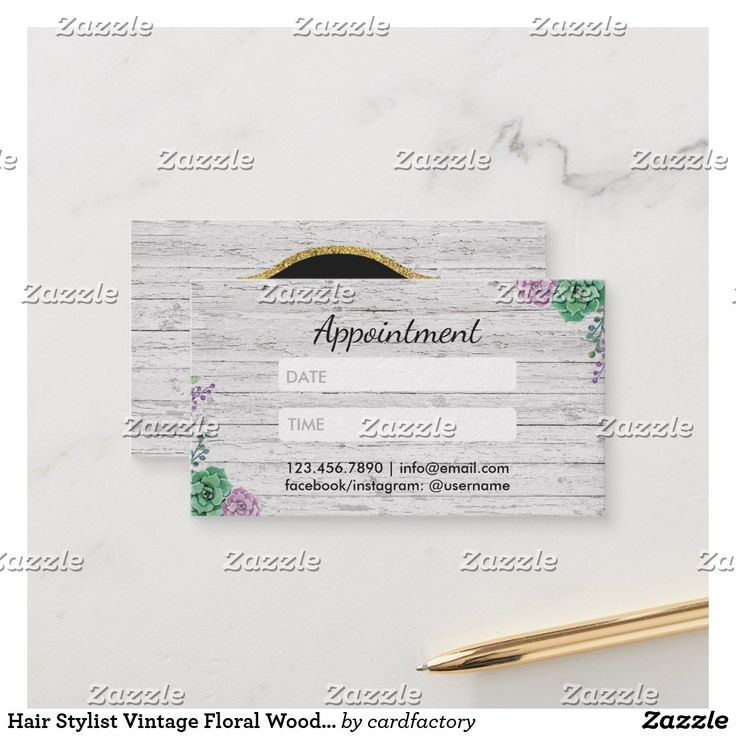 Hair Stylist Vintage Floral Wood Appointment AD-Hair Stylist Vintage Floral Rustic Wood Appointment Cards.